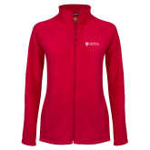 Ladies Fleece Full Zip Red Jacket-Primary Mark