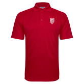 Red Textured Saddle Shoulder Polo-Shield