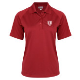 Ladies Red Textured Saddle Shoulder Polo-Shield