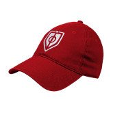 Red Twill Unstructured Low Profile Hat-Shield