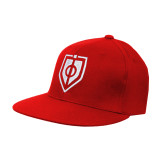 Red OttoFlex Flat Bill Pro Style Hat-Shield