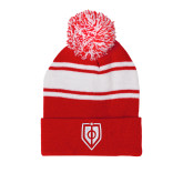 Red/White Two Tone Knit Pom Beanie with Cuff-Shield