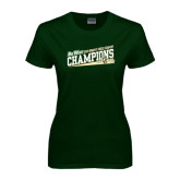 Big West Ladies Dark Green T Shirt-2015 Womens Cross Country - Cal Poly