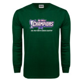 Big West Dark Green Long Sleeve T Shirt-Big West Champions 2016 Cal Poly Mens Cross Country