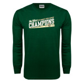 Big West Dark Green Long Sleeve T Shirt-2015 Womens Cross Country - Cal Poly