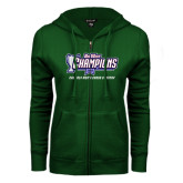 Big West ENZA Ladies Dark Green Fleece Full Zip Hoodie-Big West Champions 2016 Cal Poly Mens Cross Country