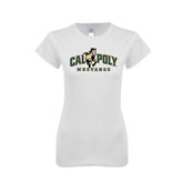 Next Level Ladies SoftStyle Junior Fitted White Tee-Calpoly Mustangs Primary Mark