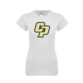 Next Level Ladies SoftStyle Junior Fitted White Tee-Interlocking CP