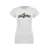 Next Level Ladies SoftStyle Junior Fitted White Tee-Calpoly w/ Mustang