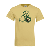 Champion Vegas Gold T Shirt-Peace, Love, Volleyball Design