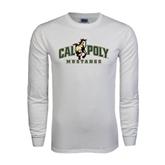 White Long Sleeve T Shirt-Calpoly Mustangs Primary Mark