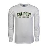 White Long Sleeve T Shirt-Calpoly w/ Mustang