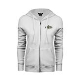 ENZA Ladies White Fleece Full Zip Hoodie-Calpoly Mustangs Primary Mark