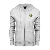ENZA Ladies White Fleece Full Zip Hoodie-Interlocking CP