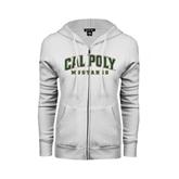 ENZA Ladies White Fleece Full Zip Hoodie-Calpoly w/ Mustang