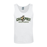 White Tank Top-Calpoly Mustangs Primary Mark