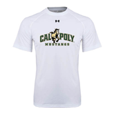 Under Armour White Tech Tee-Calpoly Mustangs Primary Mark