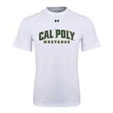 Under Armour White Tech Tee-Calpoly w/ Mustang