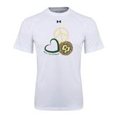 Under Armour White Tech Tee-Peace, Love, Volleyball Design