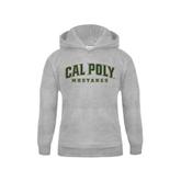 Youth Grey Fleece Hood-Calpoly w/ Mustang