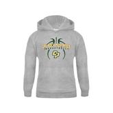 Youth Grey Fleece Hood-Basketball In Ball Design