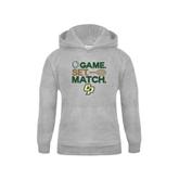 Youth Grey Fleece Hood-Game Set Match Tennis Design