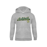 Youth Grey Fleece Hood-Softball Bat Design