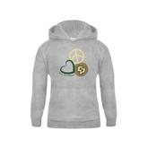 Youth Grey Fleece Hood-Peace, Love, Volleyball Design