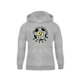 Youth Grey Fleece Hood-Soccer Ball Design