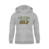 Youth Grey Fleece Hood-Tee Off Golf Design
