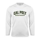 Performance White Longsleeve Shirt-Calpoly w/ Mustang