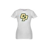 Youth Girls White Fashion Fit T Shirt-Interlocking CP