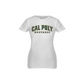 Youth Girls White Fashion Fit T Shirt-Calpoly w/ Mustang