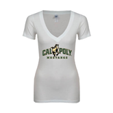 Next Level Ladies Junior Fit Ideal V White Tee-Calpoly Mustangs Primary Mark