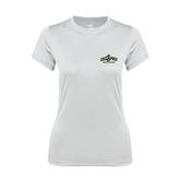 Ladies Syntrel Performance White Tee-Calpoly Mustangs Primary Mark