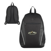 Atlas Black Computer Backpack-Calpoly Mustangs Primary Mark