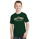 Youth Dark Green T Shirt-Calpoly Mustangs Primary Mark