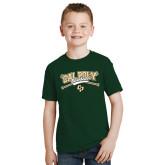 Youth Dark Green T Shirt-Baseball Crossed Bats Design