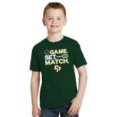 Youth Dark Green T Shirt-Game Set Match Tennis Design