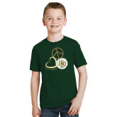 Youth Dark Green T Shirt-Peace, Love, Volleyball Design