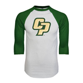White/Dark Green Raglan Baseball T-Shirt-Interlocking CP