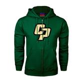 Dark Green Fleece Full Zip Hoodie-Interlocking CP