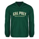 V Neck Dark Green Raglan Windshirt-Calpoly w/ Mustang