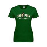 Ladies Dark Green T Shirt-Calpoly Mustangs Primary Mark