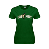 Ladies Dark Green T Shirt-Calpoly w/ Mustang