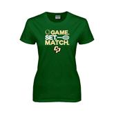 Ladies Dark Green T Shirt-Game Set Match Tennis Design