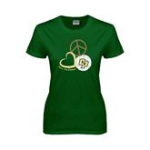 Ladies Dark Green T Shirt-Peace, Love, Volleyball Design