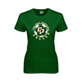Ladies Dark Green T Shirt-Soccer Ball Design