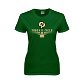 Ladies Dark Green T Shirt-Track and Field Shoe Design