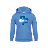 Youth Light Blue Fleece Hoodie-Interlocking CP Foil
